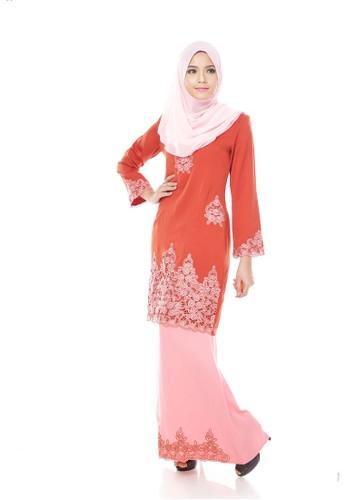 Maribeli Butik Jasmine Kurung – Brown (BrownBaby Pink) from Maribeli Butik in Pink and Brown