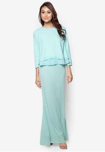 Joy to the Twirl Baju Kurung Moden from Zolace in Green