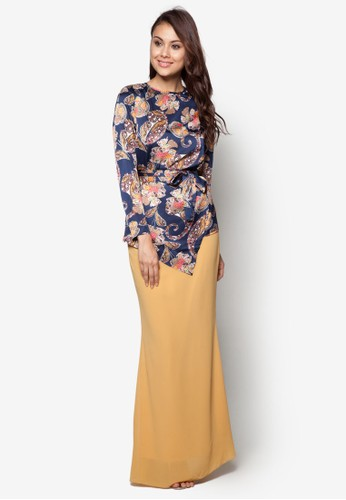 Sweet Romance Baju Kurung Moden from Zolace in Yellow and Blue