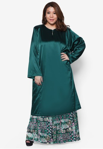 Plussize Salsa Satin Kurung Set from Mis Claire in Green and Multi