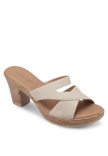 木紋粗跟交叉帶涼鞋,zalora 鞋評價 女鞋, 中跟