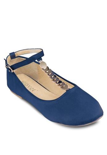 珠片裝飾踝帶平底鞋, 女鞋,zalora 評價 芭蕾平底鞋