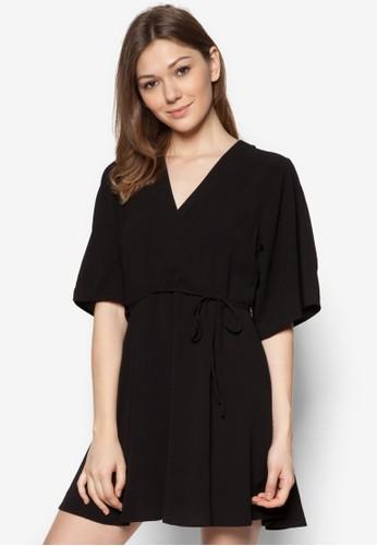 裹式繫帶寬袖連身裙, 服飾, zalora 鞋評價洋裝
