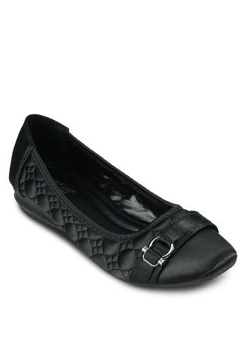 扣環軟襯zalora退貨縫線平底鞋, 女鞋, 鞋