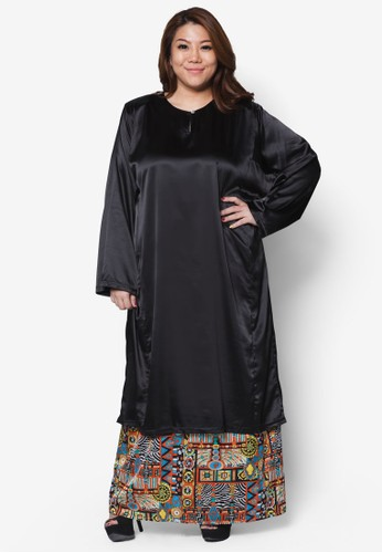 Plussize Salsa Satin Kurung Set from Mis Claire in Black and Multi