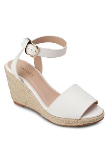 露zalora 台灣趾繞踝麻編楔形鞋, 女鞋, 楔形涼鞋