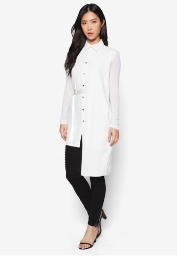 不對zalora 包包評價稱長版腰帶襯衫, 服飾, 上衣