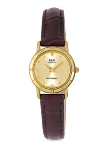 Q&azalora 衣服尺寸mp;Q Q857-100Y 金屬圓框手錶, 錶類, 皮革錶帶