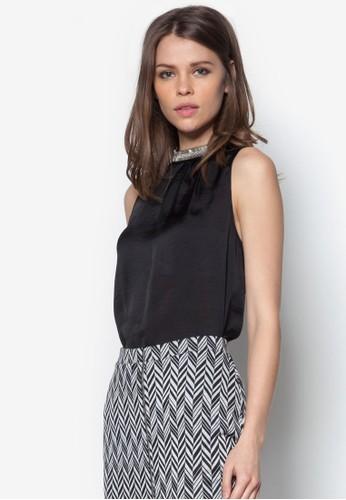 黑色綢緞長版上衣, zalora鞋服飾, 服飾
