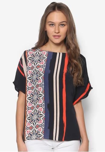 瓷磚條紋短袖上衣zalora 鞋評價, 服飾, 上衣