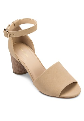 尖頭踝帶圓跟高zalora 評價跟涼鞋, 女鞋, 細帶高跟鞋
