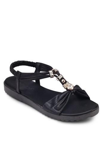 金飾T 字zalora 評價繞踝涼鞋, 女鞋, 鞋