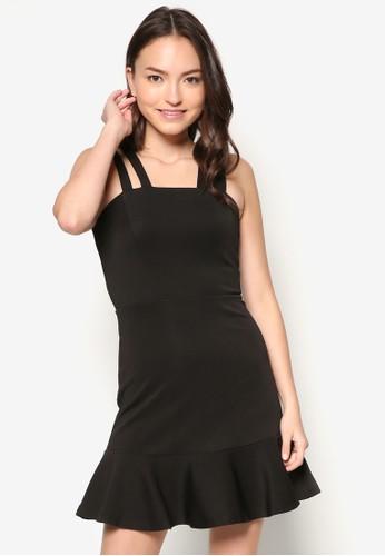 zalora鞋子評價雙肩帶拼色荷葉邊洋裝, 服飾, 派對洋裝