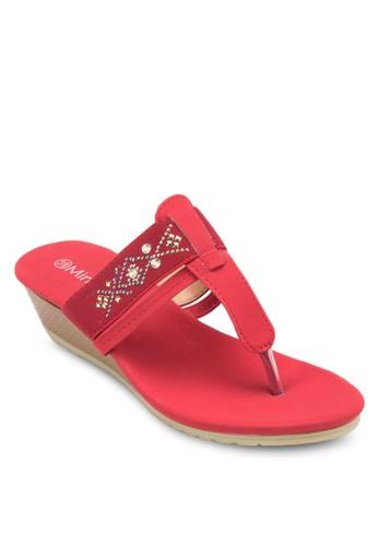 閃飾人字帶楔形zalora開箱涼鞋, 女鞋, 楔形涼鞋