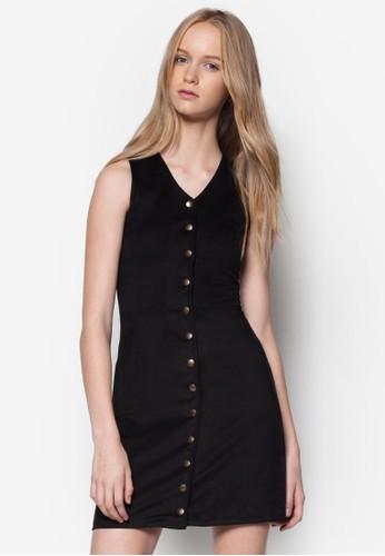 排鈕開襟麂皮topshop hk連身裙, 服飾, 洋裝