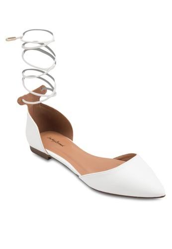 繫帶側鏤空尖頭平底鞋, 女鞋, 芭蕾平zalora 評價底鞋