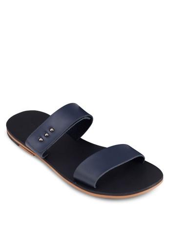 鉚釘雙寬帶平底涼鞋, 鞋, zalora 評價拖鞋