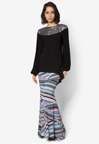 Mullet Shoulder Sequin Midi Kurung from Zuco Fashion in Black
