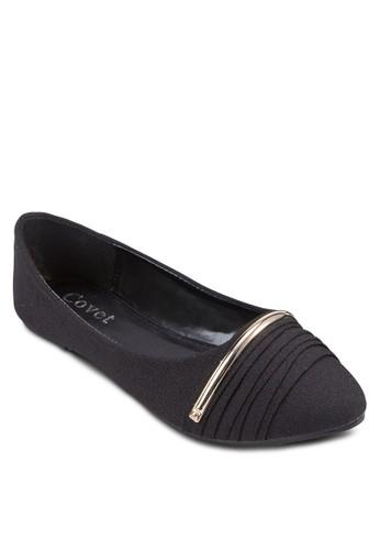 金屬條褶zalora 鞋評價飾尖頭平底鞋, 女鞋, 鞋