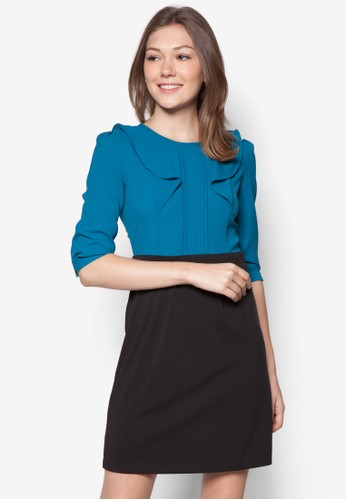 Suki 假兩件zalora 台灣七分袖連身裙, 服飾, 洋裝