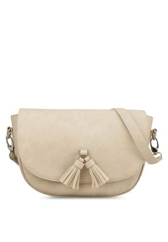 雙流蘇zalora 包包 ptt半月型斜背包, 包, 飾品配件