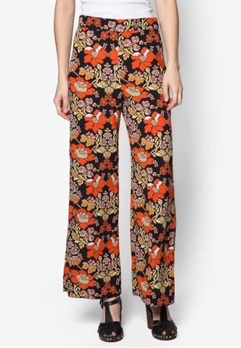 花卉印花高腰闊腳長褲, 服飾, zalora 包包評價服飾