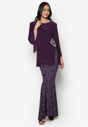 Front Slit Midi Kurung from Zuco Fashion in Purple