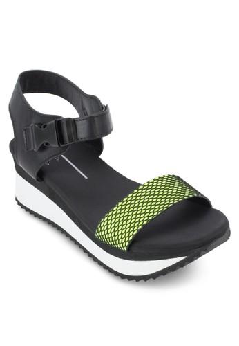 熒光網眼繞踝厚底涼鞋, 女zalora 心得鞋, 鞋