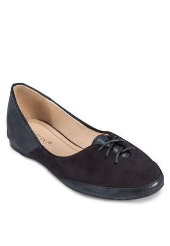 zalora 手錶拼接飾帶平底鞋, 女鞋, 芭蕾平底鞋