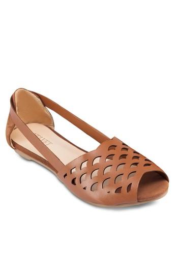 Kacey 露zalora鞋子評價趾鏤空包跟平底鞋, 女鞋, 魚口鞋