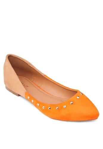 zalora退貨鉚釘拼色尖頭娃娃鞋, 女鞋, 芭蕾平底鞋