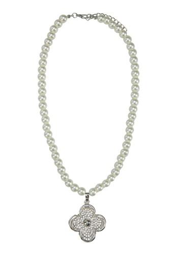 四zalora 心得葉草水鑽珍珠項鍊, 飾品配件, 飾品配件
