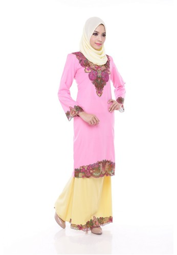 KURUNG MODERN ARINA -Pink Amaranth from Maribeli Butik in Pink and Yellow