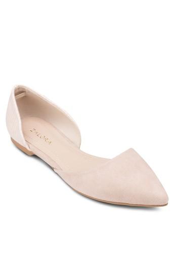 側鏤空尖頭娃娃鞋, 女鞋, 芭蕾zalora 心得平底鞋