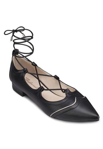 尖頭繫帶繞踝平底鞋,zalora鞋 女鞋, 芭蕾平底鞋