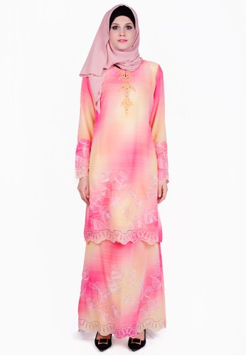 Baju Kurung With Contrast Color from ESPRIMA in Pink
