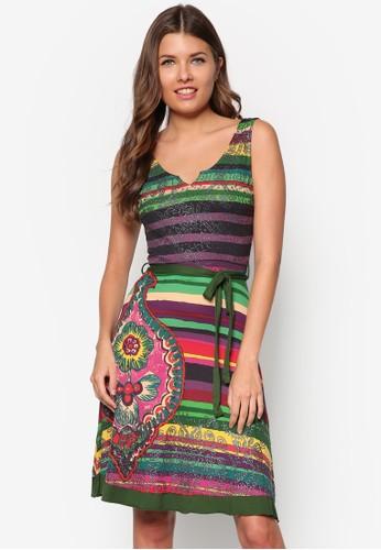 亮片繡花條紋連身裙, 服飾, 夏zalora鞋日洋裝
