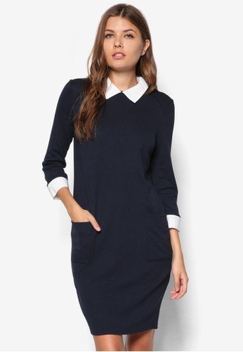 撞色領假兩件連身裙zalora退貨, 服飾, 服飾
