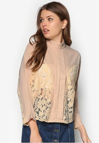 蕾絲拼接褶飾zalora 評價長袖上衣, 服飾, 服飾
