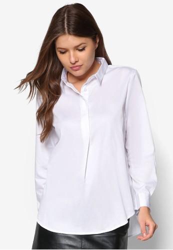 素色寬版zalora是哪裡的牌子長袖襯衫, 服飾, 上衣