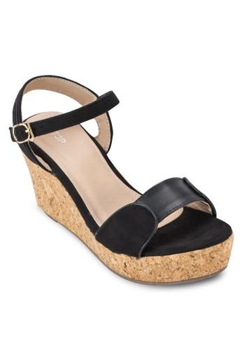 軟木楔型繞踝涼鞋, 女鞋, 楔形涼zalora 評價鞋