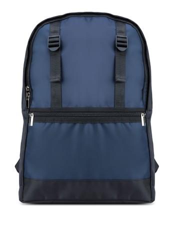 雙釦環拼色後背包, 包, zalora 評價包