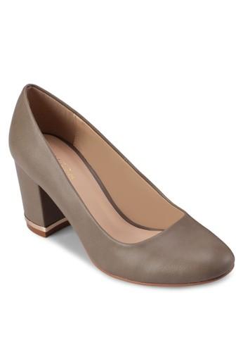 仿皮圓頭zalora時尚購物網評價金飾粗跟鞋, 女鞋, 厚底高跟鞋