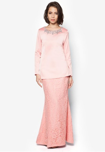 Emma Embellished Neck Kurung from VERCATO in Pink