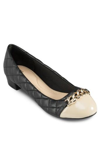 撞色拼接鍊zalora 包包評價飾低跟鞋, 女鞋, 鞋