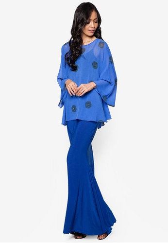 Printed Top Midi Kurung Kedah from Zuco Fashion in Blue