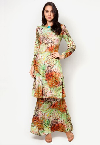 Haslinda A line Lycra Mini Kurung from Zuco Fashion in Green