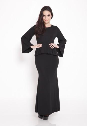 Aamanee Peplum Baju Kurung Moden from Camelia in Black