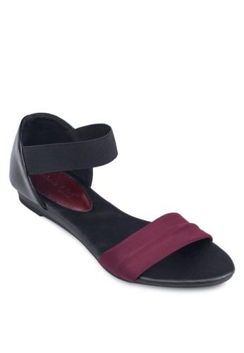 撞色一字帶繞踝涼鞋, zalora 台灣女鞋, 鞋