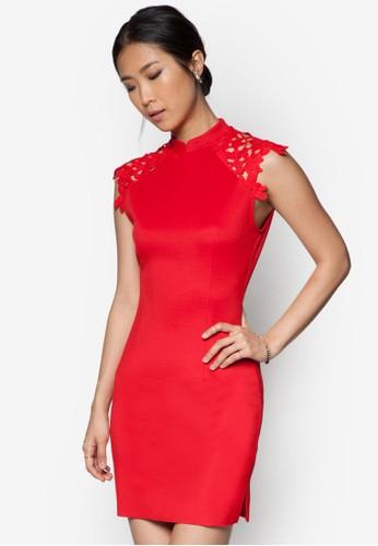 蕾絲鉤花拼肩洋裝, zalora 台灣服飾, 服飾